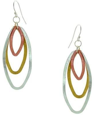 Takobia Tri-Tone Oval Hoop Dangle Earrings