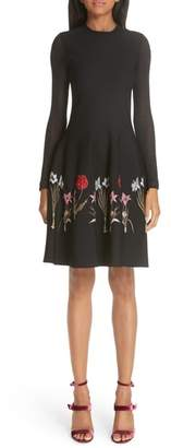 Oscar de la Renta Sheer Sleeve Floral Hem Dress