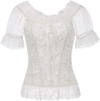 Belle Women Steampunk Gothic Jacquard Short Sleeve Lace Tops
