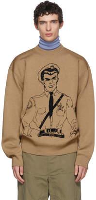 J.W.Anderson Tan Policeman Sketch Crewneck Sweater