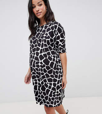 f99cff438604d Asos DESIGN Maternity t-shirt dress in mono animal print