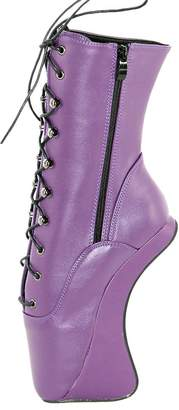 "Wonderheel 7"" curved heel matte purple fetisch ankle boots lace up ballet shoes"