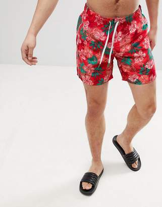 Benetton Swim Shorts With Tropical Print In Red