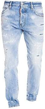 DSQUARED2 Men's Distressed Light-Wash Cigarette Jeans