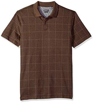 Van Heusen Men's Short Sleeve Printed Windowpane Polo Shirt