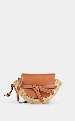 Loewe Women's Gate Mini Straw & Leather Shoulder Bag - Beige, Tan