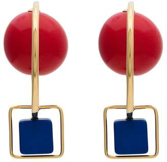 Marni red and blue resin and metal hook earrings