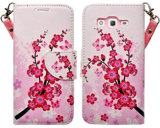 CoverLab Galaxy Go Prime Case / Grand Prime Wallet Case, Wrist Strap Flip [Kickstand] Pu Leather Wallet Case with ID & Credit Card Slots for Galaxy Go Prime/Grand Prime - Cherry Blossom