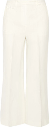 Theory - Nadeema Pleated Linen Wide-leg Pants - Ivory $275 thestylecure.com