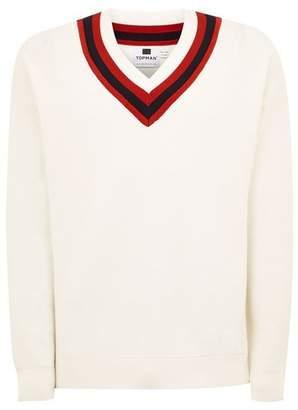 Topman Mens White 'Milan' Oversized V Neck Sweater