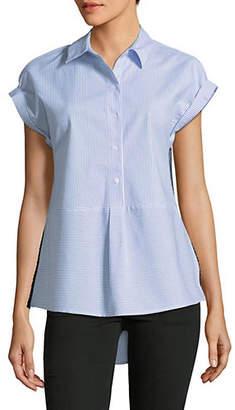 Jones New York Striped Hi-Lo Peplum Shirt