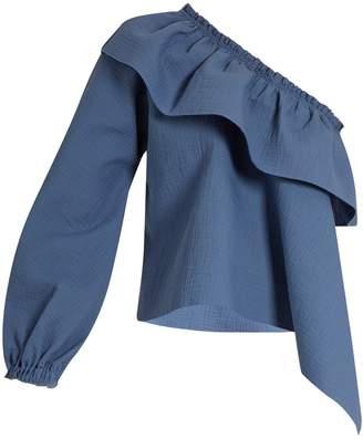RACHEL COMEY Georgia asymmetric-ruffled cotton-blend top $426 thestylecure.com