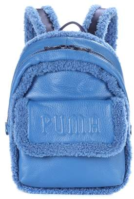 Rihanna Fenty by Sherpa-trimmed leather backpack