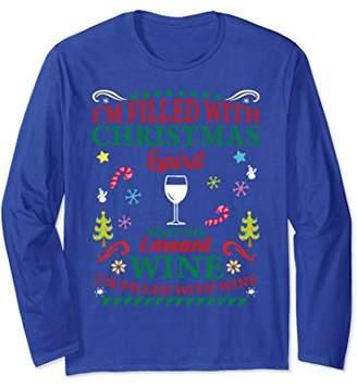 Funny Christmas Long Sleeve Shirt For Wine Lovers Men Women