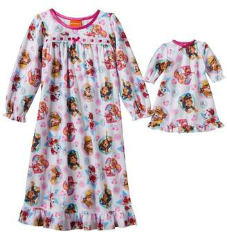 "Nickelodeon Girl's Paw Patrol Nightgown with Matching 18"" Doll Gown"