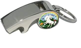 Generic Unicorn, Fantasy, Plated Metal Whistle Bottle Opener Keychain Key Ring