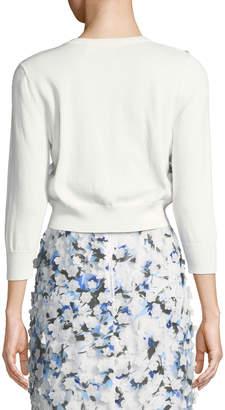 Karl Lagerfeld Paris Floral-Applieque Button-Front Shrug