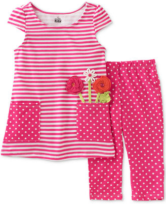 Kids Headquarters 2-Pc. Striped Dot Tunic & Capri Leggings Set, Toddler & Little Girls (2T-6X) $38 thestylecure.com
