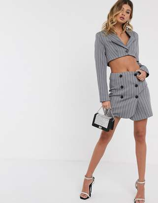 Asos Design DESIGN extreme high waisted suit skirt with buttons in pinstripe