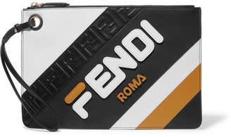 Fendi Striped Leather Pouch - Black