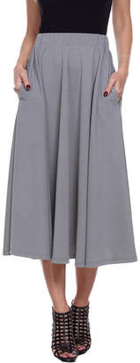 WHITE MARK White Mark Flare Womens Mid Rise Stretch Midi Flared Skirt