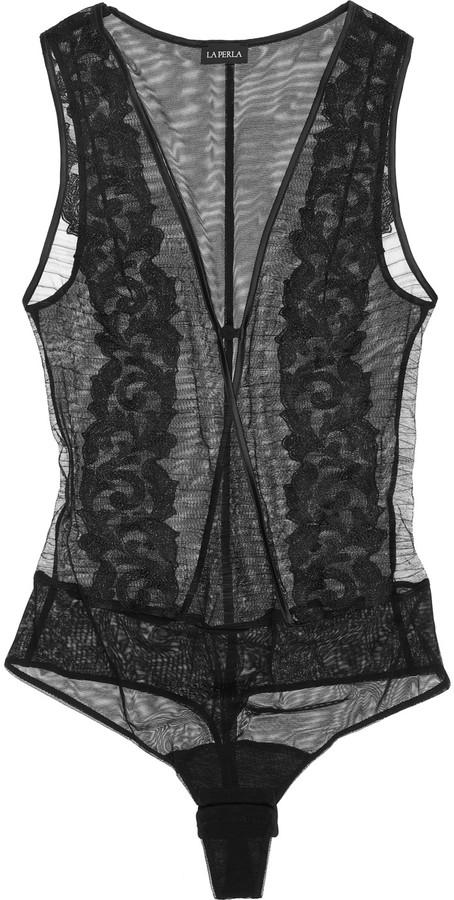 La Perla Embroidered stretch-mesh thong bodysuit