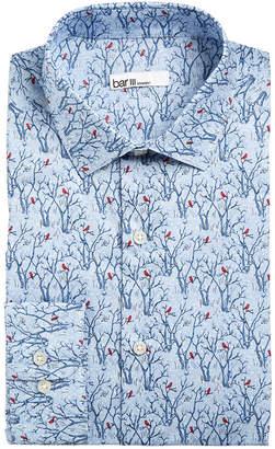 Bar III Men's Slim-Fit Stretch Snow Tree Print Dress Shirt, Created for Macy's