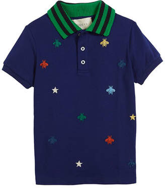 Gucci Bee & Star Embroidered Pique Polo w/ Knit Collar, Size 4-12