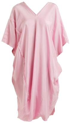 By Walid - Lino V Neck Draped Raw Silk Dress - Womens - Pink