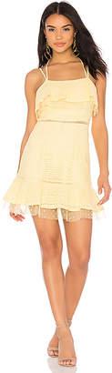 J.o.a. Lace Detail Ruffle Hem Dress