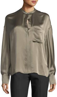 Vince Single-Pocket Button-Front Satin Blouse