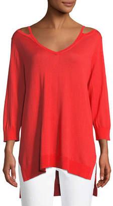 Joan Vass Open V-Neck Easy Sweater Tunic