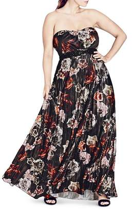 City Chic Plus Holiday Rose Strapless Maxi Dress