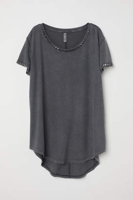 H&M T-shirt with Studs - Black