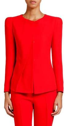 Giorgio Armani Crewneck Pleated Cady Jacket