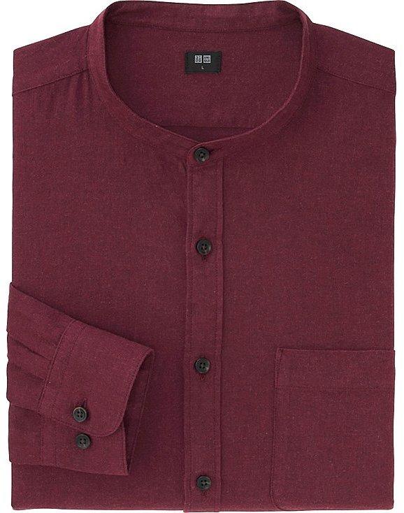 Men Flannel Stand Collar Long Sleeve Shirt 7
