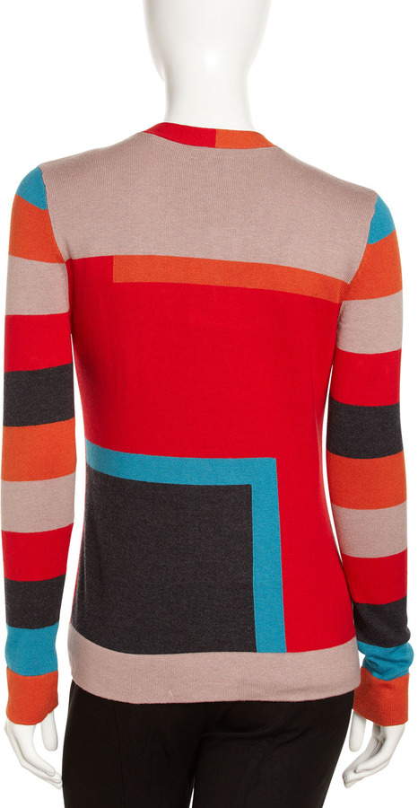 Paperwhite Colorblock Knit Cardigan