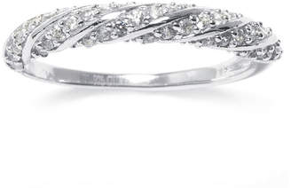 SILVER TREASURES Cubic Zirconia Pav Sterling Silver Rope Ring