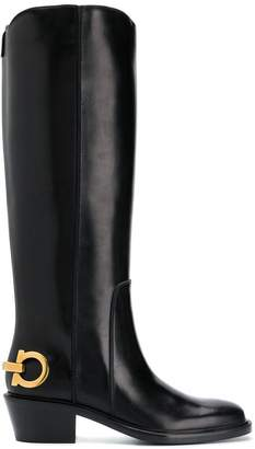 Salvatore Ferragamo logo knee-length boots