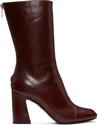 Lemaire Burgundy Leather Boots