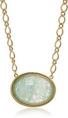 1928 Jewelry 14k Gold Dipped Aventurine Semi Precious Gemstone Oval Adjustable Pendant Necklace