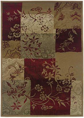 """Oriental Weavers Area Rug, Genesis 80X Patchwork Vines 2' 7"""" x 9' 1"""" Runner Rug"""
