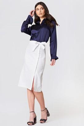 Na Kd Boho Button Linen Look Midi Skirt Dark Blue