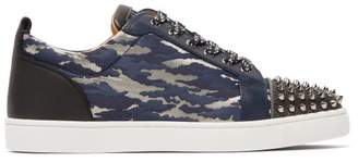 Christian Louboutin Louis Junior Studded Camouflage Jacquard Trainers - Mens - Navy