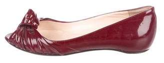 Christian Louboutin Patent Leather Peep-Toe Flats