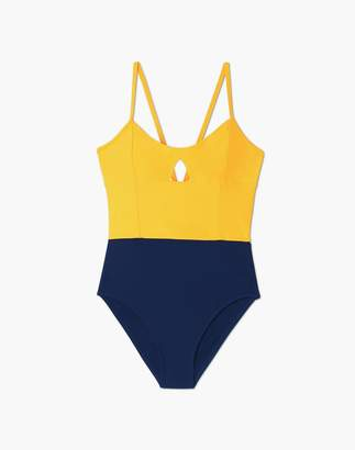 Madewell Summersalt Swan Dive One-Piece Swimsuit in Blue