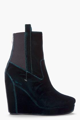 Vanessa Bruno Emerald Green Velvet Wedge Boots