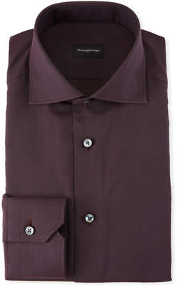 Ermenegildo Zegna Men's Solid Twill Dress Shirt, Burgundy