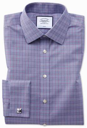Charles Tyrwhitt Classic Fit Non-Iron Berry and Navy Prince Of Wales Check Cotton Dress Shirt Single Cuff Size 15.5/32