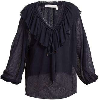 See by Chloe Ruffle-trimmed V-neck blouse